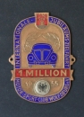 "Volkswagen ADAC-Plakette ""1 Million - Internationale Jubiläumszielfahrt"" 1955 Messing emailliert (3506)"